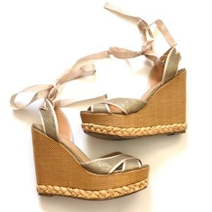 JustFab wicker style wedges with ribbons size 8